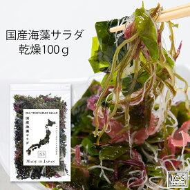 【お盆も発送】国産 乾燥海藻サラダ100g わかめ 茎わかめ 昆布 ふのり 赤とさか 白おご 送料無料 イクスセレクション