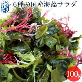 国産 乾燥 海藻サラダ100g わかめ 茎わかめ 昆布 ふのり 赤とさか 白おご メール便送料無料 MSM
