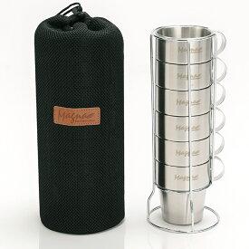 マグカップ キャンプ おすすめ 保温 マグ アウトドア ステンレス ダブルウォール 二重構造 マグカップセット 6個セット メッシュバッグ付き