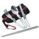 シングル カトラリー 折畳式 メッシュタイプ 収納袋 フォーク スプーン ナイフ つなぎ箸 カラビナ 6点セット MAGNA(マ…
