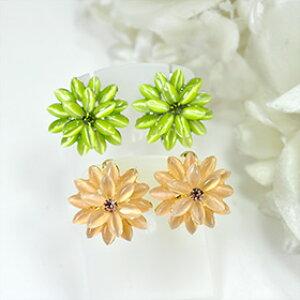 【即納】【メール便対応 送料無料】美しいキャッツアイが華やかに♪グリーン、オレンジのキャッツアイフラワーイヤリング 花モチーフ