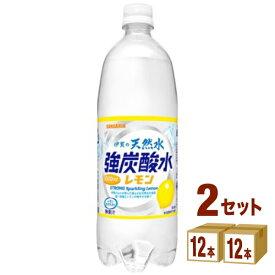 サンガリア 伊賀の天然水 強炭酸水 レモン 1000ml×24本 飲料【送料無料※一部地域は除く】