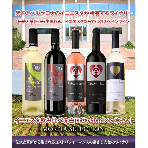 日本リカー ボデガ・イニエスタ ワイン 赤・白 750ml×5本(個)送料無料(北海道・沖縄・一部地域は別途)