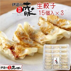【冷凍便】伊達の純粋赤豚 生餃子 ちょっとお得な45個入り!(15個入×3パック)【※冷蔵・常温品との同梱不可】