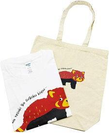 伊豆シャボテン本舗レッサーパンダ トートバッグ & プリントTシャツ大人 半袖 2点セット