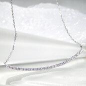 K18WG/PG/YG0.3ctダイヤモンドラインネックレスペンダント