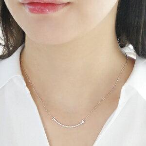 K10WG/PG/YG【0.12ct】リバーシブルダイヤモンドスマイルラインネックレス