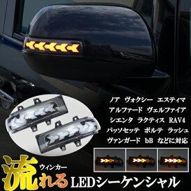 ノア ヴォクシー エスティマ 流れるウィンカー LEDシーケンシャル ドアミラーウィンカー デイライト内蔵 カプラーオン クリア 透明