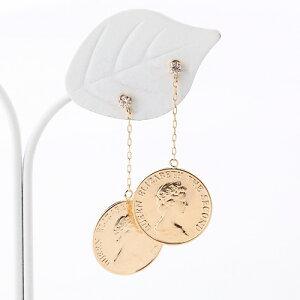 K18 ダイヤ入り コイン ピアス 18金ゴールド【送料無料】【あす楽対応】【ラッピング無料】