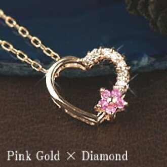 672a7b761286 Jewelry Bargain  Pink sapphire necklace 40cm 10 gold pink gold diamond open  heart pendant September stone amulet for an easy delivery 10k K10 pink  sapphire ...