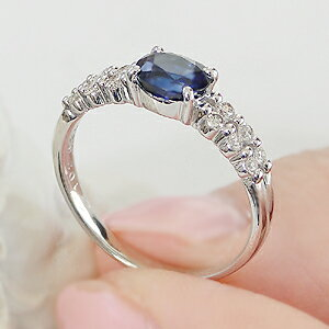 pt900ダイヤモンド&ブルーサファイアリング