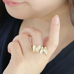 K18YG【1.0ct】バタフライダイヤモンドリング