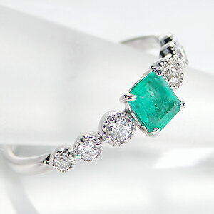 pt900エメラルドダイヤモンドリング