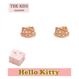送料無料 【HELLO KITTYxTHE KISS ザ キッスコラボ】 THE KISS ザ キッス sweets ピアス K10 ピンク ゴールド レディース キティーフェイス ダイヤモンド KITTY-32DM 記念日 ホワイトデー ホワイトデー
