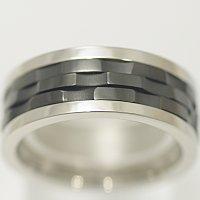 vie ステンレス ペアリング 結婚指輪 マリッジリング 【メンズ販売】サージカルステン製 好きな文字 数字 漢字など刻印リングのブラックの部分の模様が変えられる 結婚記念日 ホワイトデー ★送料無料