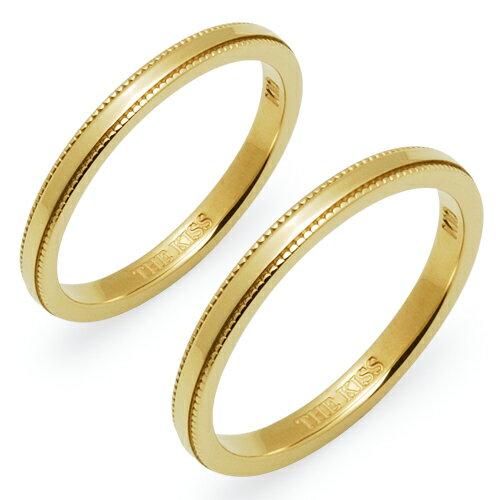 送料無料 THE KISS sweets 【ペア販売】 イエロー ゴールド K10YG ペアリング 筆記体日本語刻印可能 K-R2300YG-P 結婚指輪 マリッジリング ホワイトデー
