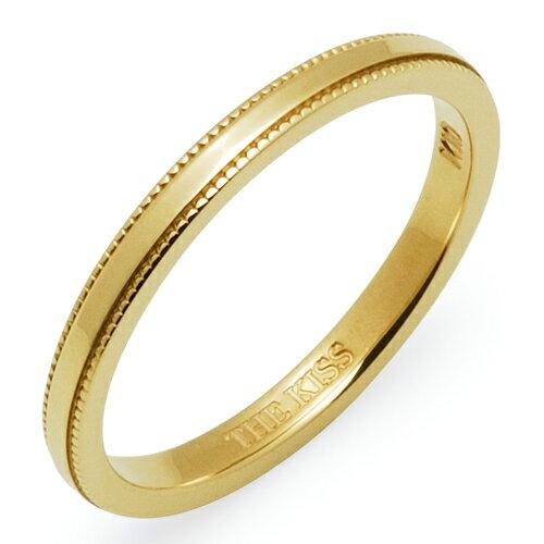送料無料 THE KISS sweets 【1本販売】 イエロー ゴールド K10YG ペアリング 筆記体日本語刻印可能 K-R2300YG 結婚指輪 マリッジリング ホワイトデー