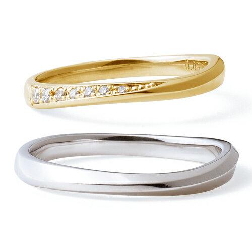 送料無料 THE KISS sweets 【ペア販売】 イエロー ゴールド x ホワイトゴールド K10YG K10WG ダイヤモンド ペアリング 筆記体日本語刻印可能 K-R2912YG-K-R2913WG 結婚指輪 マリッジリング ホワイトデー