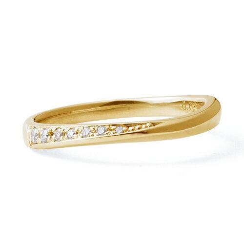 送料無料 THE KISS sweets 【レディース・1本販売】 イエローゴールド x ダイヤモンド ペアリング 筆記体日本語刻印可能 K-R2912YG 結婚指輪 マリッジリング ホワイトデー