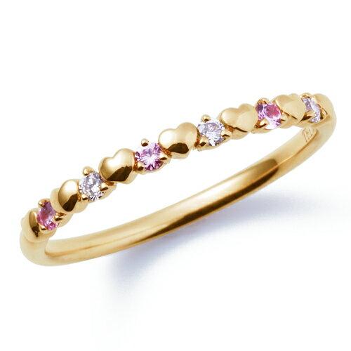 送料無料 THE KISS sweets 【レディース・1本販売】 イエロー ゴールド x ダイヤ x ピンクサファイア ペアリング K-R2910YG 結婚指輪 マリッジリング ホワイトデー
