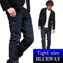 BLUEWAY:ソリッドストレッチデニム・タイトスリムジーンズ(ダークビンテージ):M1880-4100 ブルーウェイ ジーンズ メ…