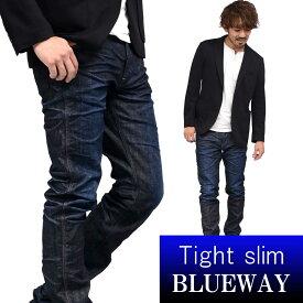 BLUEWAY:ソリッドストレッチデニム・タイトスリムジーンズ(ダークビンテージ):M1880-4100 ブルーウェイ ジーンズ メンズ デニム ジーパン 裾上げ