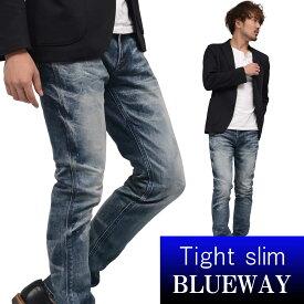 BLUEWAY:ソリッドストレッチデニム・タイトスリムジーンズ(オーバーエイジング):M1880-5305 ブルーウェイ ジーンズ メンズ デニム ジーパン 裾上げ