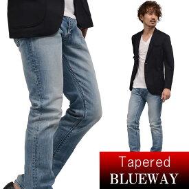 BLUEWAY:ソリッドストレッチデニム・レギュラーテーパードジーンズ(ハードビンテージ):M1881-5504 ブルーウェイ ジーンズ メンズ デニム ジーパン 裾上げ