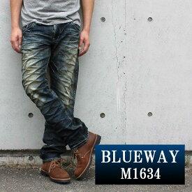 BLUEWAY:ビンテージデニム・エンジニアインカットジーンズ(ツイストブラウンNEXT):M1634-5450 ブルーウェイ ジーンズ メンズ デニム 裾上げ
