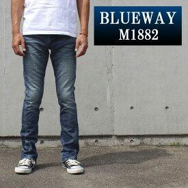 BLUEWAY:ソリッドストレッチデニム・セミブーツカットジーンズ(ハードビンテージ):M1882-5504 ブルーウェイ ジーンズ フレア メンズ デニム 裾上げ