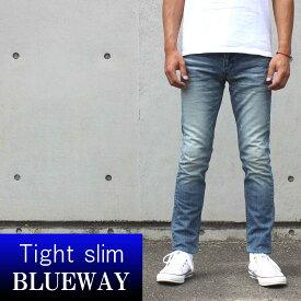 BLUEWAY:ソリッドストレッチデニム・タイトスリムジーンズ(ハードビンテージ):M1880-5504 ブルーウェイ ジーンズ メンズ デニム ジーパン 裾上げ