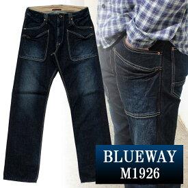 BLUEWAY:13.5ozビンテージデニム・6Pワークパンツ(オールドブルー):M1926-4450 ブルーウェイ ジーンズ メンズ デニム ジーパン 裾上げ ストレート