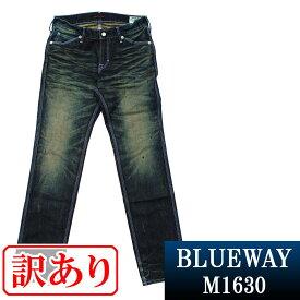 BLUEWAY:ビンテージデニム・エンジニアインカットジーンズ(モーターサイクル):M1630-6155 ブルーウェイ ジーンズ メンズ デニム ジーパン 裾上げ B67
