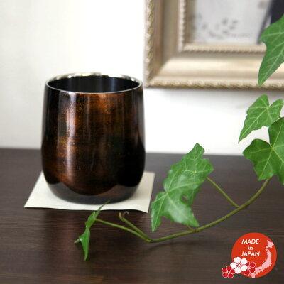 漆磨2重ロックカップ ダルマ 黒 ビャクダン