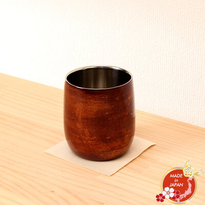 漆磨2重ロックカップ ダルマ 赤 ビャクダン