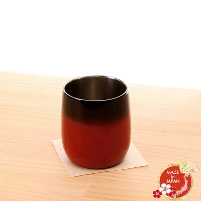 漆磨二重ロックカップ ダルマ 赤 彩