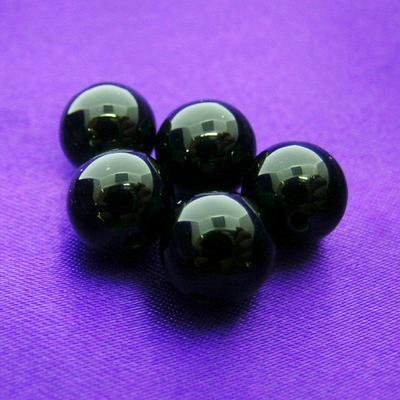 """《8ミリアップ》""""ブラックオニキス""""両穴ビーズを一玉からお届け《健康運、厄除けの石・パワーストーン・天然石・粒売り・バラ売り・8mmラウンドビーズ》"""