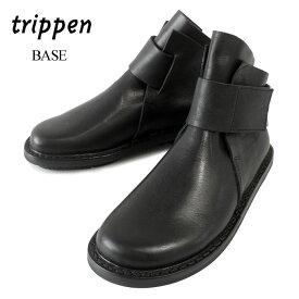 【2019 AW New】 トリッペン Trippen ブーツ レディース BASE ベース ベルクロ ショートブーツ レザーブーツ 本革 革靴 ショート丈 ベルクロストラップ 【国内 正規品】 BASE-WAW92 BLK 黒 ブラック