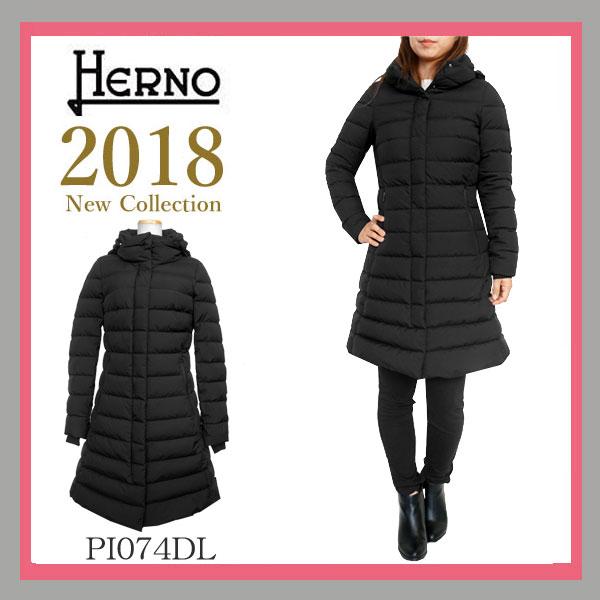 [2018 AW New] HERNO ヘルノ ダウン レディース Laminar ラミナー ゴアテックス ダウンコート ロング ダウンジャケット 着脱フード 【海外 正規品】 PI074DL 11106 9300 BLACK ブラック