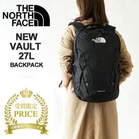 ノースフェイス リュック レディース THE NORTH FACE VAULT ヴォルト バックパック リュックサック デイバッグ 27L B4 ロゴ中央 デザイン (NF0A3VY2) ブラック/ネイビー 今季モデル 本国 正規品