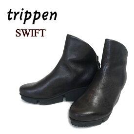 【2019 AW New】 トリッペン trippen ブーツ レディース SWIFT trippen ショートブーツ レザーブーツ 本革 バックジップ ウェッジソール 【国内 正規品】 SWIFT-WAW92 BLK ブラック