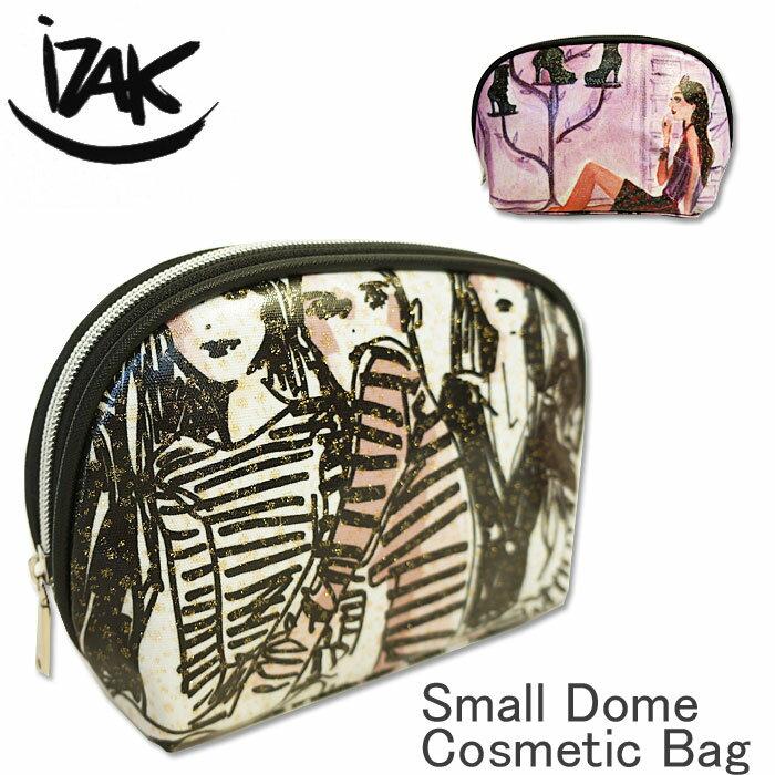 [選べるクーポン発行中!][2018 AW New] iZAK イザック コスメティックポーチ 化粧ポーチ コスメポーチ メイク ポーチ キャンバス グリッターコーティング 国内 【正規品】 Small Dome Cosmetic Bag IZ-GSD01 IZ-GSD02