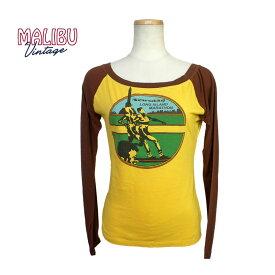 Malibu Vintage マリブヴィンテージ プリント Tシャツ 長袖 レディース ボートネック ラグランスリーブ コットン/ナイロン混 アメリカ製 WTLS205