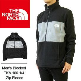 ノースフェイス フリース ジャケット メンズ THE NORTH FACE ハーフジップ スタンドネック ブルゾン 長袖 切替 フリースジャケット Men's Blocked TKA 100 1/4 Zip Fleece 【海外 正規品】 T93T22 K7H