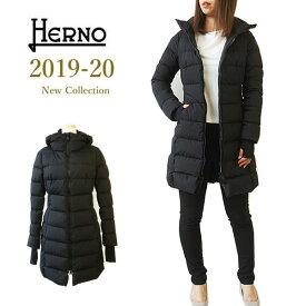 【2019-20 AW New】 HERNO ヘルノ ダウン レディース Laminar ラミナー ゴアテックス ダウンコート ロング ダウンジャケット 着脱フード アウター 【海外 正規品】 PI080DL 11106 9300 BLACK ブラック