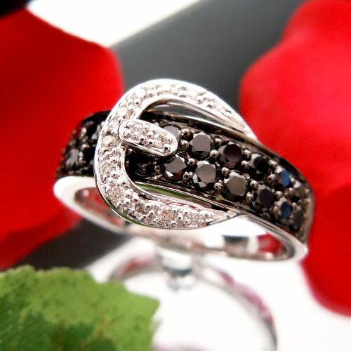 【上質ジュエリー】ホワイトゴールド(K18WG) ダイヤモンド/ブラックダイヤモンド リング(モノトーン/ベルト/ブラックメッキ)【ハイクラス】【宝石 ジュエリー】【プレゼント】【刻印無料】【クリスマス】20P05Aug17