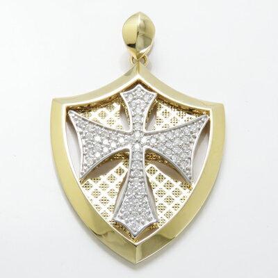 喜平チェーン専用ペンダントヘッド K18 K18WG ダイヤモンド0.8ct特大 メンズ 男性用 本物 喜平チェーン専用 ペンダントヘッドナイト 騎士 十字架 クロス 盾 紋章 エンブレム