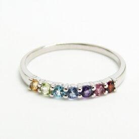 アミュレット Pt900 プラチナ カラーストーン お守りジュエリー 指輪 誕生石 パワーストーン 相性 浄化 ピンキーリング 小指の指輪 7石 7カラー