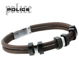POLICE  ポリス 20390BSC03 TAMPAシリーズ ブラウン レザー メンズ ブレス/バングル【送料無料】