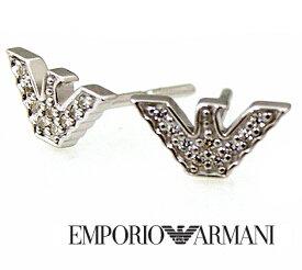 EMPORIO ARMANI エンポリオ アルマーニ EG3027040 イーグルロゴ ピアス シルバー ラインストーン付【送料無料】